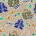 Seamless pattern of camping equipment white contour on beige background with stitch. Hand drawn tourist illustration