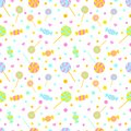 Seamless pattern with candies, lollipops and hearts. Endless sweet background, vector illustration