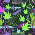 Seamless pattern with cannabis leaves, hippie peace symbol, ethnic ornament and grunge brush strokes. Abstract background in patch Royalty Free Stock Photo