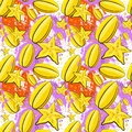 Seamless Pattern Carambola Fruits Exotic Ornament Background