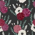 Seamless pattern with carnation and anemone flowers, eucalyptus, dusty miller and silver brunia.