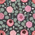 Seamless pattern with carnation, eucalyptus, silver brunia, protea flowers and leaves. Decorative holiday floral background.