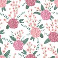 Seamless pattern with carnation flowers, spiral eucalyptus and alstroemeria. Decorative holiday floral background. Royalty Free Stock Photo