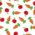 Seamless pattern with carrot and Apple fruit for textile and packaging