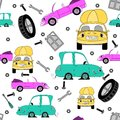 Seamless pattern with cars and tools Royalty Free Stock Image