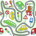 Seamless pattern with cars and traffic signs