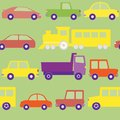 Seamless pattern with cars trucks and train Stock Photo