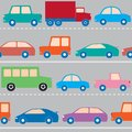 Seamless pattern with cars trucks and train Royalty Free Stock Photos