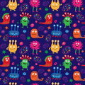 Seamless pattern with cartoon aliens and patterns