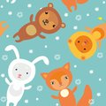 Seamless pattern with cartoon animales christmas Royalty Free Stock Photography