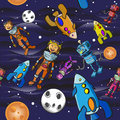 Seamless pattern cartoon astronauts children Royalty Free Stock Image