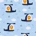 Seamless pattern Cartoon background with a lion driving a helicopter floating in the sky Royalty Free Stock Photo