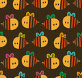 Seamless pattern with cartoon bees for design fabric, backgrounds, wrapping paper