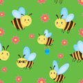Seamless pattern with cartoon bees and flowers. Royalty Free Stock Photo