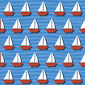 Seamless pattern with cartoon boats on the sea vector background for summer Royalty Free Stock Photos