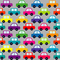Seamless pattern with cartoon cars Stock Photos