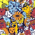 Seamless pattern. Cartoon characters in the style of kawaii with the image of animals, birds and flowers. Design backgrounds,