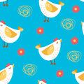 Seamless pattern with cartoon chicken and flowers on blue background. Ornament for textile and wrapping. Vector