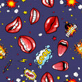 Seamless pattern cartoon comic super speech bubble labels with text, sexy open red lips with teeth, retro cartoon vector