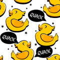 Seamless pattern with cartoon duck and stars. Ornament for children`s textiles and wrapping. Comics style. Vector background Royalty Free Stock Photo