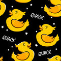 Seamless pattern with cartoon duck and stars. Ornament for textiles and wrapping. Vector background Royalty Free Stock Photo