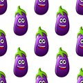 Seamless pattern of cartoon eggplants happy smiling purple or brinjals in square format Royalty Free Stock Images