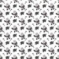 Seamless pattern with cartoon elephants and pandas. black and white color