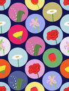 Seamless pattern with cartoon flowers Royalty Free Stock Photography