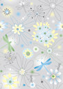 Seamless pattern with cartoon flowers in bright colors Stock Image