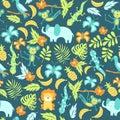 Seamless pattern with cartoon jungle animals