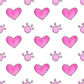Seamless pattern with cartoon paws and hearts. Hand-drawn background. Vector illustration. Royalty Free Stock Photo