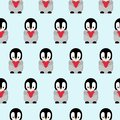 Seamless Pattern with Cartoon Penguin and Heart Design on Blue Background