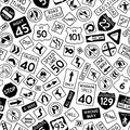 Seamless pattern of cartoon road signs in the United States.