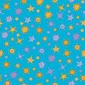 Seamless pattern with cartoon style stars