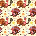 Seamless pattern cartoon thanksgiving turkey character in hat with harvest, leaves, acorns, corn, autumn holiday bird