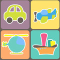 Seamless pattern with cartoon transport vector illustration Stock Image