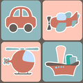 Seamless pattern with cartoon transport vector illustration Stock Photo