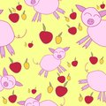 Seamless pattern with cartoony pigs