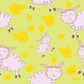 Seamless pattern with cartoony sheeps Stock Photos
