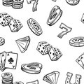 Seamless Pattern Casino set symbols. Black and white vintage illustration on white background for label, poster, web, icon