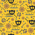 Seamless pattern with cat skeletons cute Royalty Free Stock Images