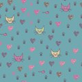 A seamless pattern of cats footprint prints cartoon cat Stock Photography