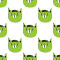 Seamless pattern with cats on a white background.