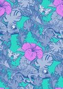 Seamless pattern of chameleon and flowers Royalty Free Stock Photo