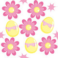Seamless pattern with chamomiles and eggs Royalty Free Stock Image