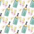 Seamless pattern with champagne bottle and glass. Watercolor celebration background. Christmas or Valentines Day backdrop design. Royalty Free Stock Photo