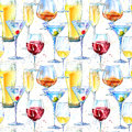 Seamless pattern of a champagne,cognac, wine,martini, beer and glass.