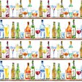 Seamless pattern of a champagne,vodka, cognac, wine, beer and glass.