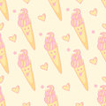 Seamless pattern with cheerful ice cream with pink cream and waffle cone Royalty Free Stock Photo