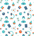 Seamless Pattern with Chemical and Medical Objects Royalty Free Stock Photo